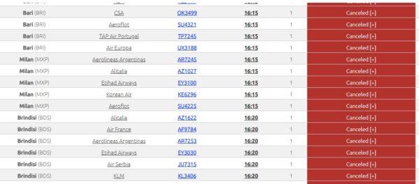 Alitalia 139 uçuşu iptal etmek zorunda kaldı.